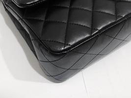 SALE Authentic Chanel BLACK QUILTED LAMBSKIN MEDIUM CLASSIC DOUBLE FLAP BAG SHW image 6