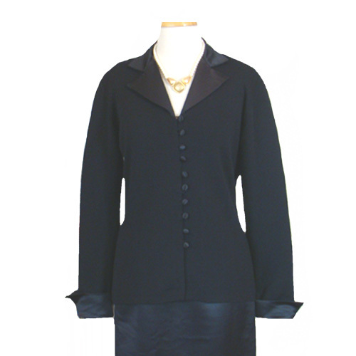 $270 Vintage Suit  1980s Adrienne Vittadini Black  Dress Suit