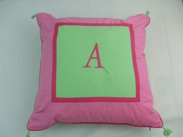 "PB Teen Fabric Toss Pillow Pink Mint Green Monogrammed Letter A 16"" sq Zippered - $9.26"