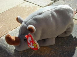 Beanie Babies Baby TY Spike the Rhino Grey 1996 Retired Collectible - $4.90