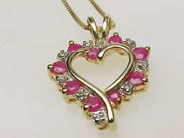 RUBY and DIAMOND HEART Pendant and Necklace in GOLD over STERLING Silver... - $65.00