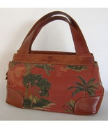 Tommy Bahama Rust Red Tapestry Leather Trim Purse Handbag Tote Palm Tree... - $24.00