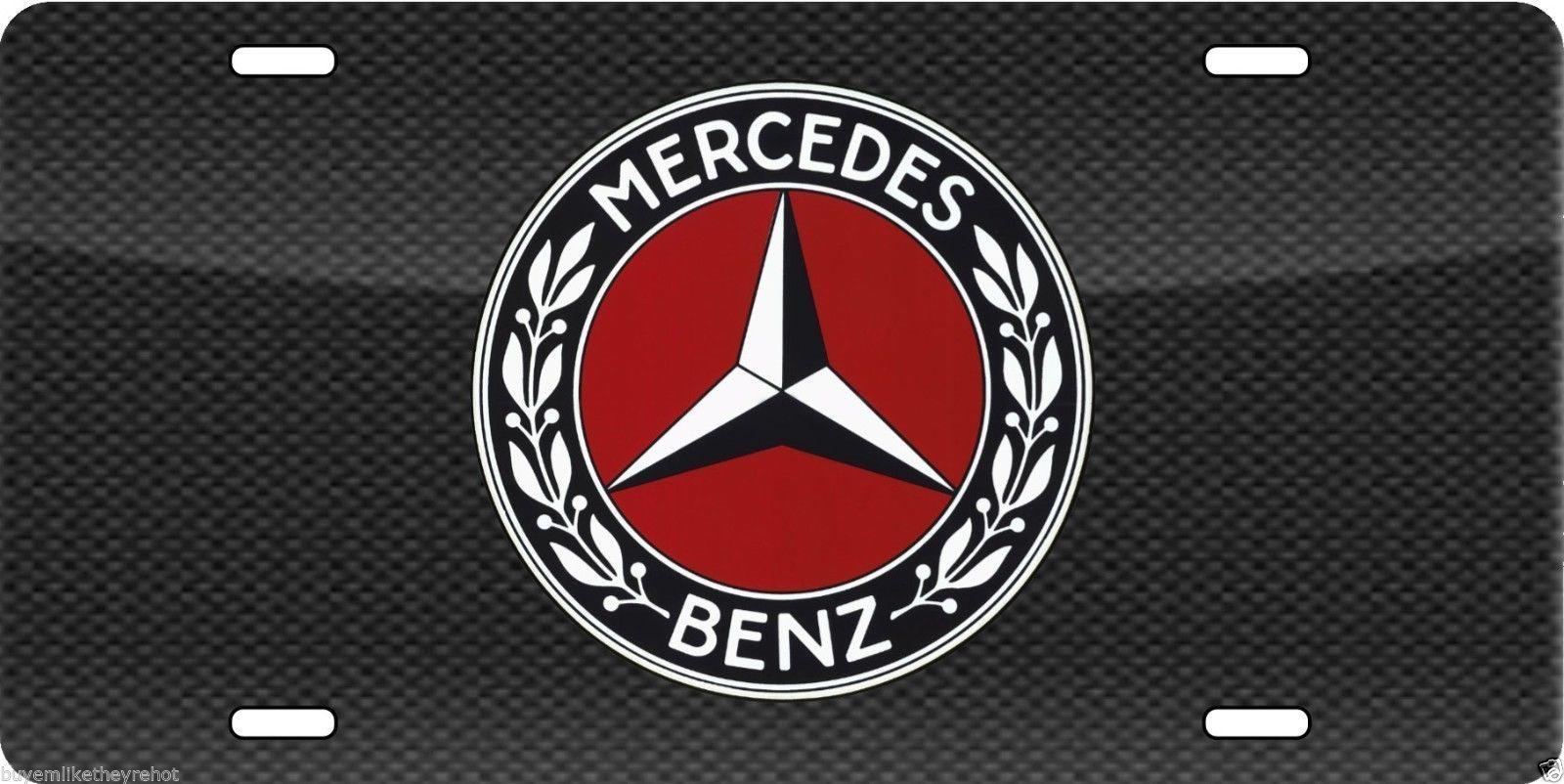 Mercedes benz aluminum vanity license plate vintage emblem for Mercedes benz vanity license plates