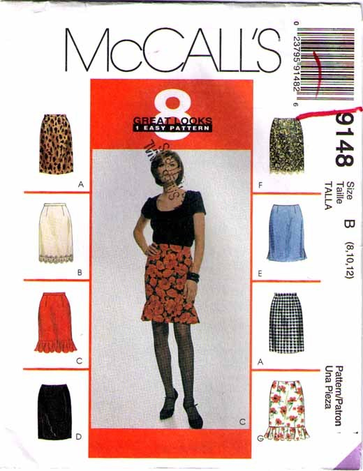 1997 SET OF SKIRTS Pattern 9148-m Size 8-10-12 - UNCUT