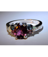 Faceted Pink Tourmaline Ring w/6 Colorful Tourmaline & Opal Accents SS (... - $175.00
