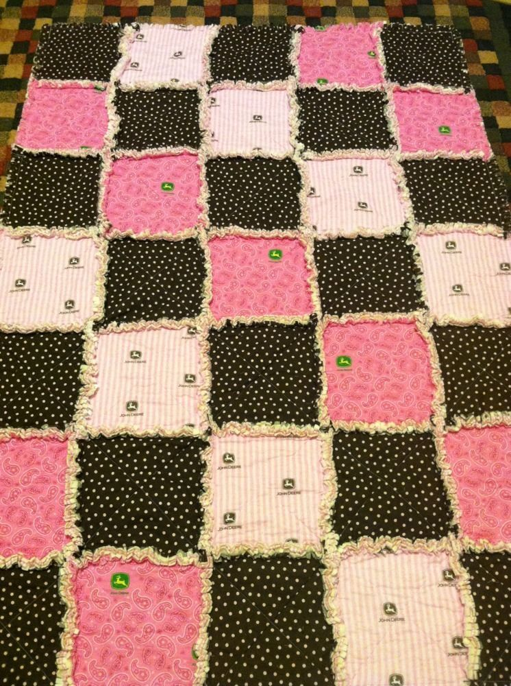 Pink And Brown John Deere Rag Quilt Stripes Polka Dots Paisley Gingham 40x58 - Quilts & Coverlets