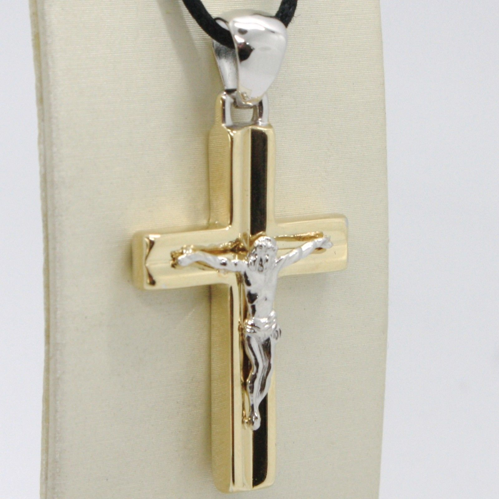 18K YELLOW WHITE GOLD JESUS CROSS PENDANT SQUARED 1.6 INCHES, 4.1 CM, ITALY MADE