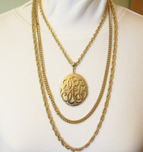 LOCKET Triple CHAINS Gold Plate Necklace Vintage Rope Cable Curb Link OR... - $14.84