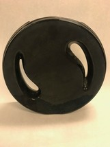 BLACK MCM ceramic Vintage pottery holes Haeger Round  tall 9.5 inch flat - $19.30