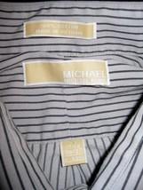 Michael Kors Mens Striped Dress Shirt Size Large 17 1/2 36/37 Long Sleev... - €24,66 EUR
