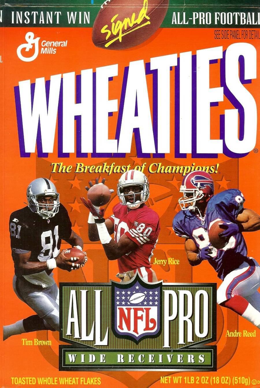 Primary image for wheaties cereal box all pro wide receivers tim brown jerry rice andre reed autog