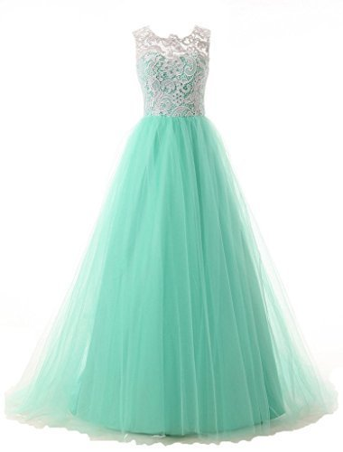 Blevla A-line Straps Lace Bodice Prom Dress Long Tulle Formal Gowns Mint US 16 for sale  USA