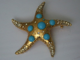 Large Vintage Capri Starfish Pin Brooch. Nautical Summer Beach Jewelry.  - $35.00