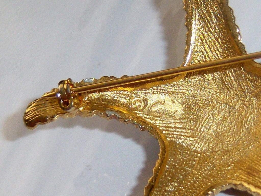 Large Vintage Capri Starfish Pin Brooch. Nautical Summer Beach Jewelry.