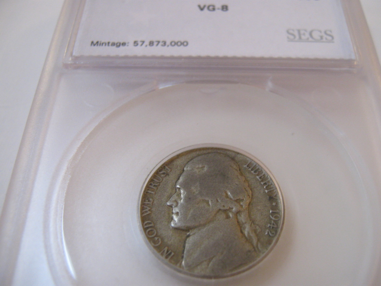 5 Cents , 1942-P , Jefferson Nickel , SEGS , VG-8
