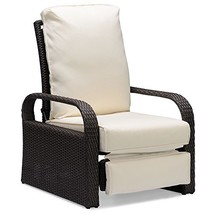 Brown Outdoor Wicker Recliner, Aluminum Frame Adjustable Woven Lounge Ch... - $345.88