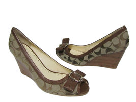 new coach andi shoes wedge signature c genuine leather woman us size 9.5 medium - $129.00