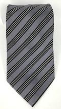 Countess Mara Mens Tie 100% Silk Gray Striped Hand Made Necktie T-15 - $7.99