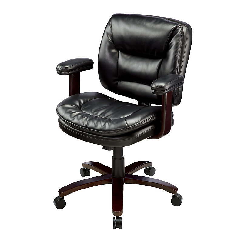 Realspace Elmhart Low-Back Bonded Leather Task Chair - Cherry/Ebony