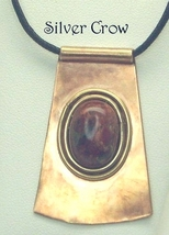Poppy Jasper, Copper Jeweler's Brass Pendant Bl... - $30.99