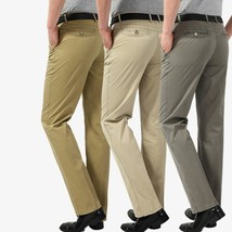 casual men long pants loose khaki gray beige trousers - $34.68