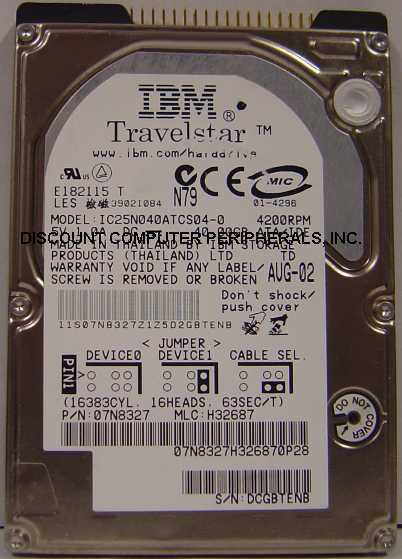 "40GB 2.5"" IDE Drive IBM IC25N040ATCS04-0 Free USA Ship Our Drives Work"
