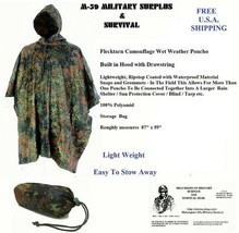 Poncho - Lightweight Ripstop Flecktarn Camouflage - Roughly measures  87... - $21.28