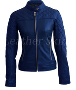 Leather Skin Women Blue Shoulder Quilted Collarless Genuine Leather Jacket - $179.99