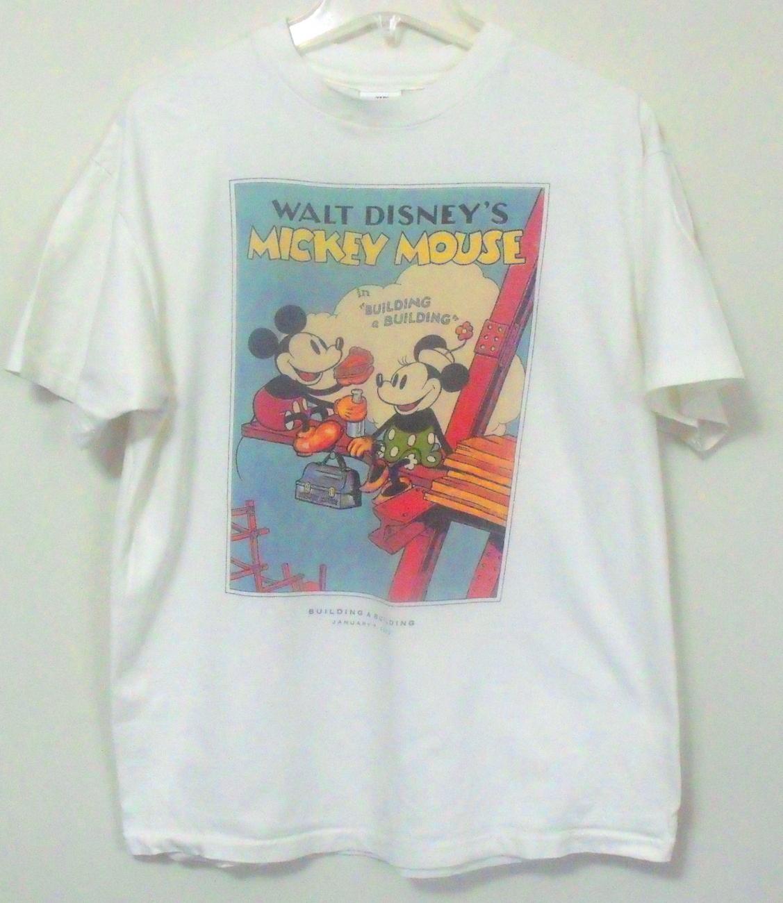 Unisex Disney White Short Sleeve Mickey and Minnie Mouse T Shirt Size Large Disney