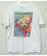 Unisex Disney White Short Sleeve Mickey and Minnie Mouse T Shirt Size Large - $4.95