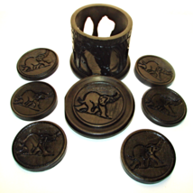 African Mahogany Elephant Coasters and Holder - $27.00
