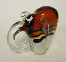 Art Glass Elephant Hand Blown Cased Glass Curio, Collection or Paperweight - $44.54