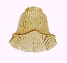 Amber Beaded Ribbed 2 1/4 in Bell Light Shade Chandelier Ceiling Fan Wall Sconce - $9.95