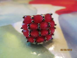 RUBY CLUSTER RING, SIZE 7 NEW. MARKED 925,  - $15.00