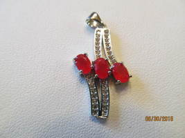 RUBY PENDENT 1 1/4 inch, MARKED 925, NEW - £7.41 GBP