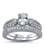 Sterling Silver Wedding set size 6 CZ Round cut Engagement ring Bridal N... - $22.23