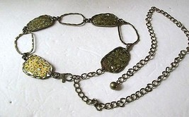 """Chicos Chain BELT Brass Gold Abalone Inlay 50"""" Adjustable Metal Beautiful - $18.00"""
