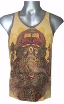 Yoga Men Top Sleeveless Animal Graphic Ganesha Buddha Peace Yellow  M Cotton Om - $13.85