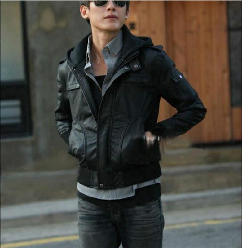 Korea New Men's Fashion Men Zip up Hooded Leather Long sleeve Coat Winter warm J