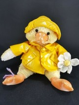 Yellow Chick Duck Raincoat Plush White Flower Butterfly Stuffed Easter 8... - $13.36