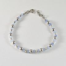 Silber Armband 925 Rhodium mit Kugeln von Silber Facettiert und Achat Blau - $38.49
