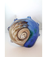 Murano Art Glass Chalcedony Aventurina Seashell Blue Brown Gold Blended Vessel - $197.99
