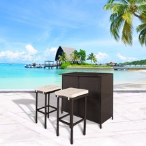 3 PC Wicker Patio Outdoor Bar Rattan Table & 2 Stools Barstool Furniture... - $169.99