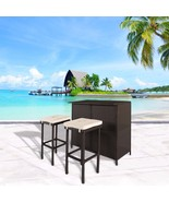 3 PC Wicker Patio Outdoor Bar Rattan Table & 2 Stools Barstool Furniture... - $209.99