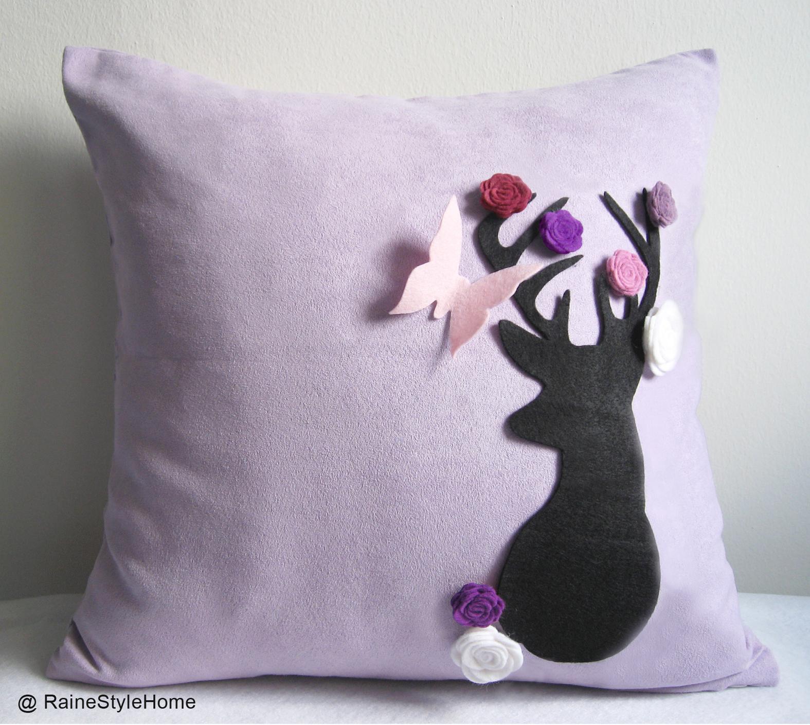 Handmade Pillow Cover. Secret Garden. Deer Dreaming Of Spring Soft Lilac Cushion