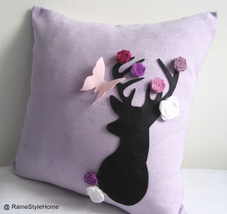 Handmade Pillow Cover. Secret Garden. Deer Dreaming Of Spring Soft Lilac... - $33.00