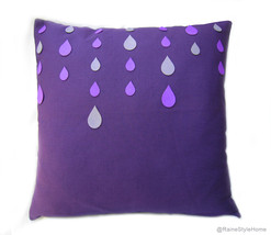 Handmade Purple Rain Pillow Cover.Grey Purple Raindrops Decorative Cushi... - $39.50
