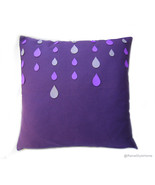 Handmade Purple Rain Pillow Cover.Grey Purple Raindrops Decorative Cushi... - $39.50