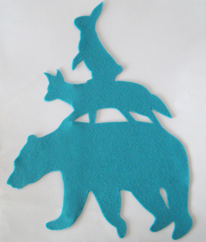 Stacking Animals Turquoise Nursery Art. Hand Cut Woodland Bear Fox Blue Wall Art