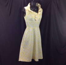 Vtg Yellow White Textured Polyester Dress Sleeveless Homesewn Small - $39.11